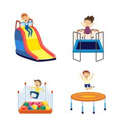 cartoon children in amusement park playground vector image