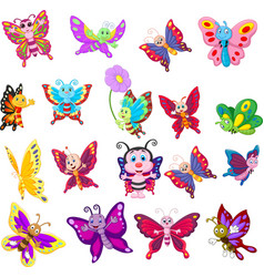 cartoon collection butterfly vector image