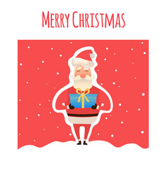 cartoon santa claus with gifts in hands with box vector image