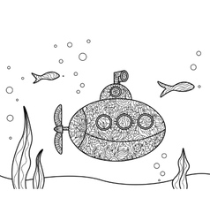 Cartoon submarine coloring book for adults vector