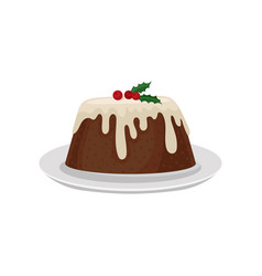 Christmas plum pudding decorated with red vector