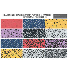 collection colorful repeatable trendy patterns vector image