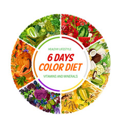 Color diet 6 days healthy food nutrition vector