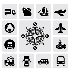 compass and transport vector image
