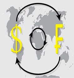 Currency exchange franc dollar on world map backgr vector image