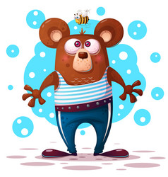 cute funny bear animal character vector image