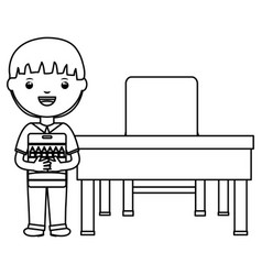 Cute little student boy with colors pencils box in vector