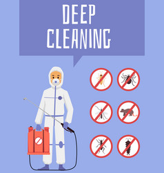 Deep cleaning pest control service poster flat vector