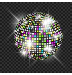 Disco ball with glow Really transparency effect vector image