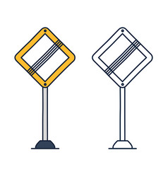 end priority traffic sign main road in shape vector image