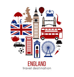 England uk sightseeing landmarks and famous vector