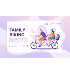 Family bike ride flat banner template vector