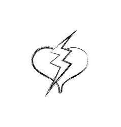 Figure heart with thunder symbol lobe design vector