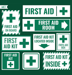 First aid label set vector