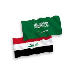 Flags saudi arabia and iraq on a white vector
