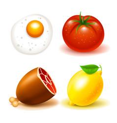 Food icons beef tomat lemon scrambled eggs white vector