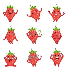 Geometric strawberry character funny emoticons vector