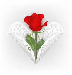 greeting card with red rose and ornamental heart vector image