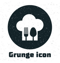 Grunge chef hat with fork and spoon icon isolated vector
