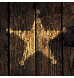 grungy sheriff star on wooden texture vector image
