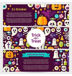 Halloween Party Concept Template Banners Set in vector