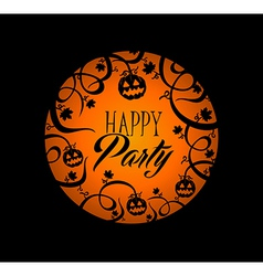 Halloween text pumpkin lantern and spooky forest vector