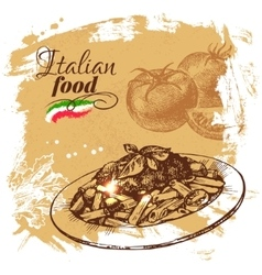 Hand drawn sketch Italian food background vector image