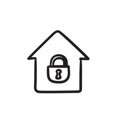 House with closed lock sketch icon vector