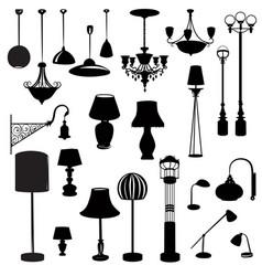 interior furniture icons ceiling lamp set indoor vector image