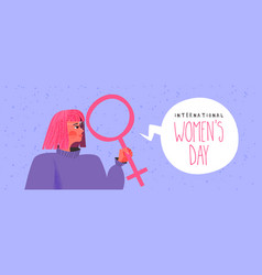 International womens day banner young woman vector