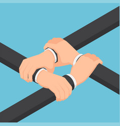 isometric businessman hands holding each other vector image