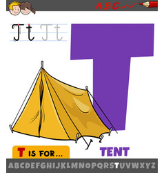 Letter t from alphabet with cartoon tent object vector