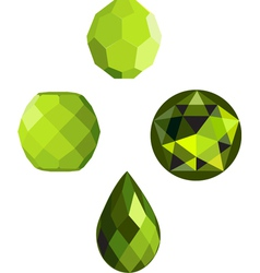 Lime crystal faceted beads vector