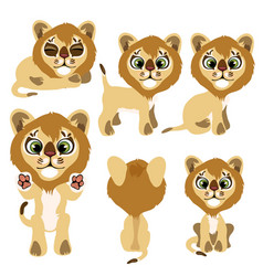 Little lion cub sitting standing and lying vector
