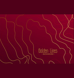 Luxury red background with golden contour lines vector