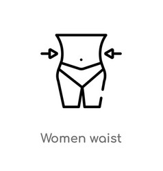 outline women waist icon isolated black simple vector image
