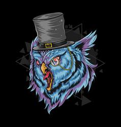 Owl wear rich hat artwork editable layers vector