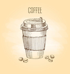 paper cup coffee with grains vector image