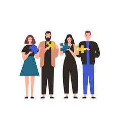 people holding jigsaw puzzle flat vector image