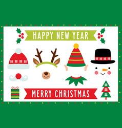 photo booth with christmas characters santa deer vector image