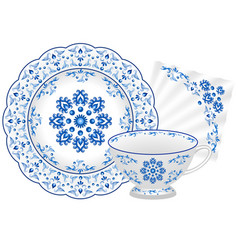 Porcelain tea party set in traditionsl russian vector