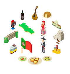 portugal travel icons set isometric style vector image