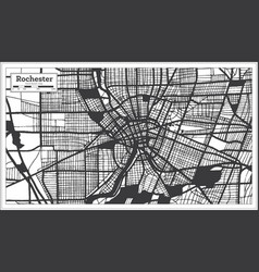 rochester usa city map in black and white color vector image