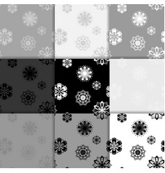 Seamless floral black and white backgrounds set vector