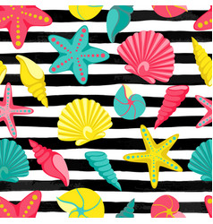 Seashell seamless pattern on black and white vector