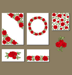 set of different cards with red roses flowers vector image