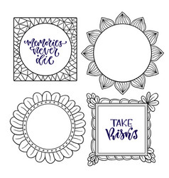 set of frames handwritten isolated calligraphy vector image