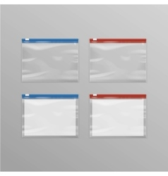 set sealed transparent plastic zipper bags vector image