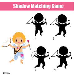 Shadow matching game cute cupid kids activity vector