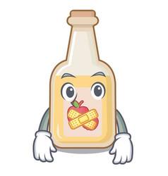 Silent bottle apple cider above cartoon table vector